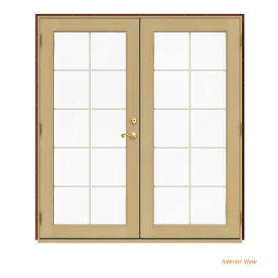 72 in. x 80 in. W-2500 Red Clad Wood Right-Hand 10 Lite French Patio Door w/Unfinished Interior