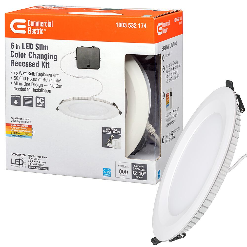 Commercial Electric Ultra Slim 6 in. Canless Color Changing Integrated LED Recessed Trim All-in-One Downlight 900 Lumens Dimmable
