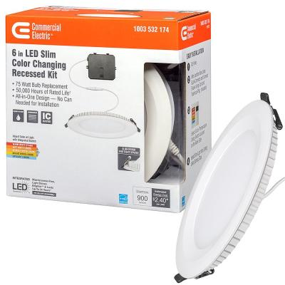 Ultra Slim 6 in. Canless Color Changing Integrated LED Recessed Trim All-in-One Downlight 900 Lumens Dimmable