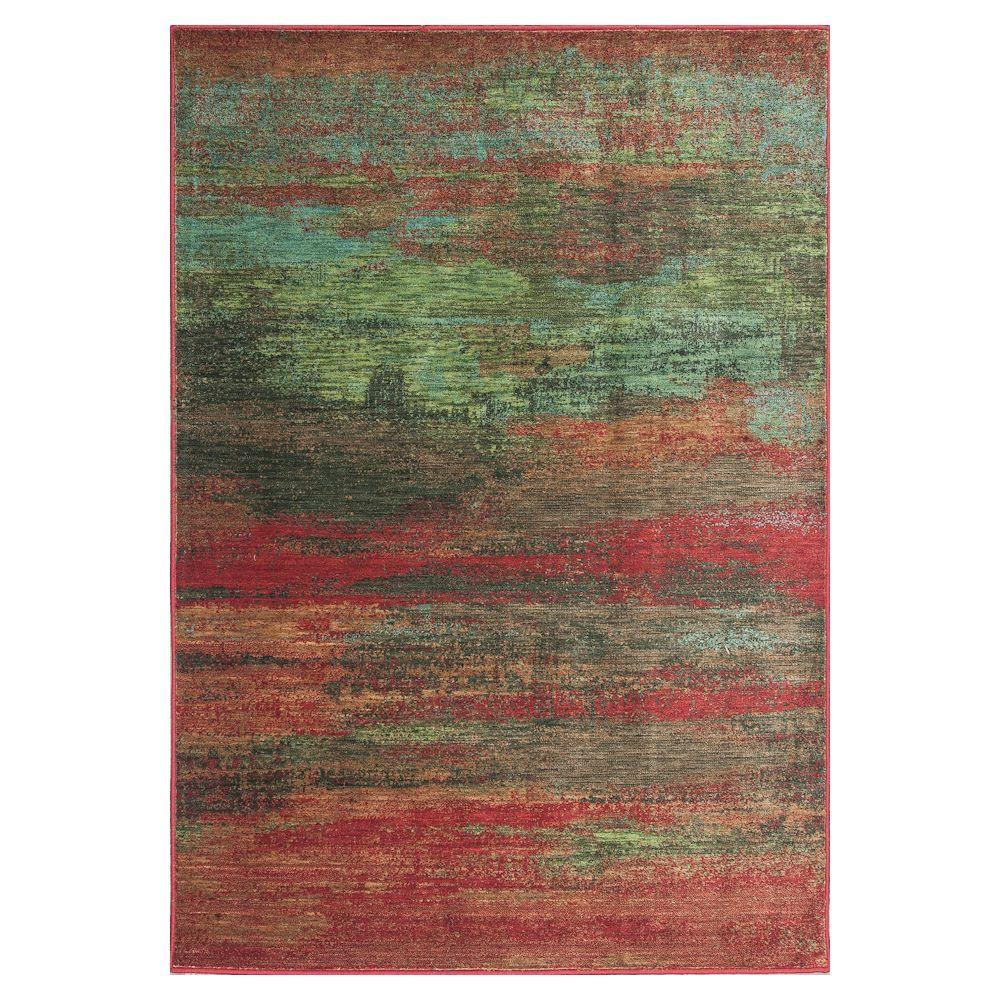 Kas Rugs Water Reflections Red/Green 5 ft. 3 in. x 7 ft. 7 in. Area Rug