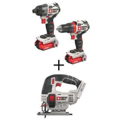20-Volt MAX Lithium-Ion Brushless Cordless Combo Kit (2-Tool) with BONUS 20-Volt MAX Cordless Jigsaw (Tool-Only)