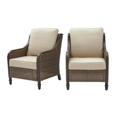 Windsor Brown Wicker Outdoor Patio Lounge Chair with Sunbrella Beige Tan Cushions (2-Pack)