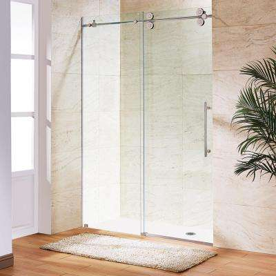 Elan 68 in. x 74 in. Frameless Sliding Shower Door in Stainless Steel with Clear Glass
