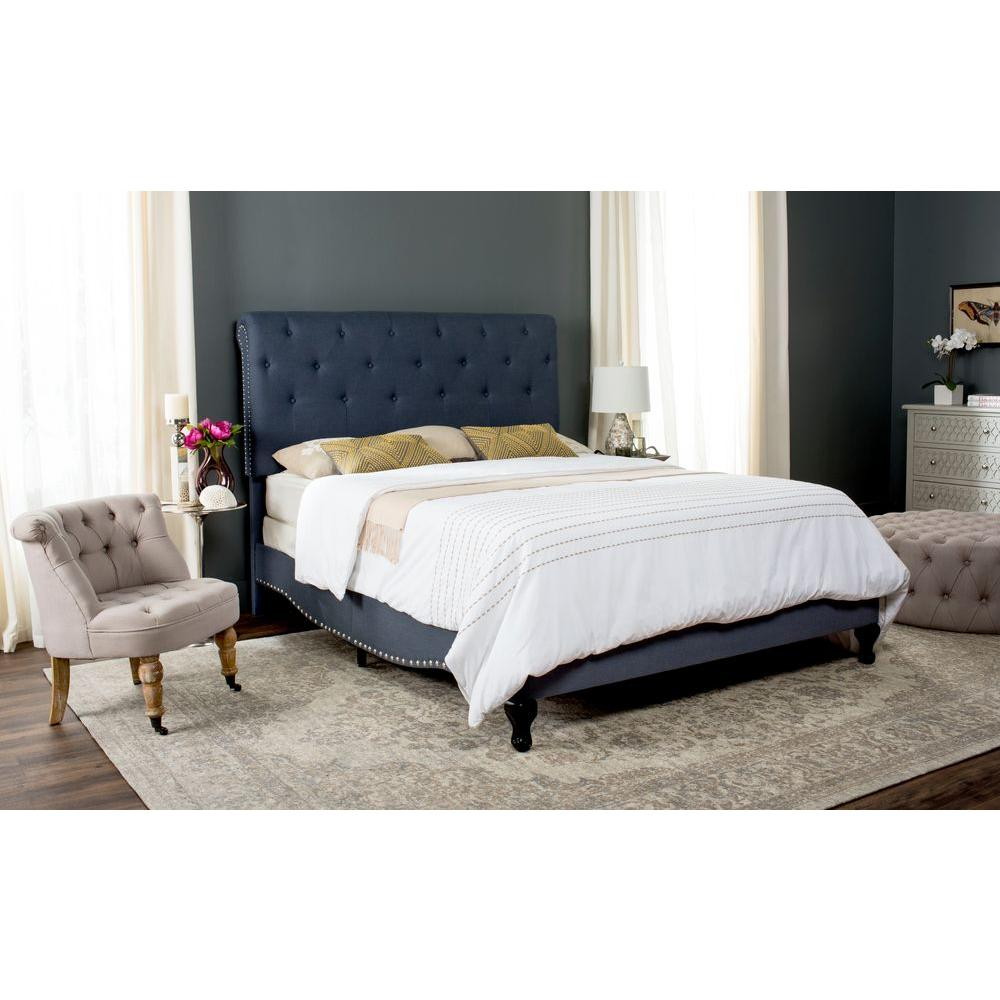 Queen Blue Upholstered Headboard Beds Bedroom Furniture The Home Depot