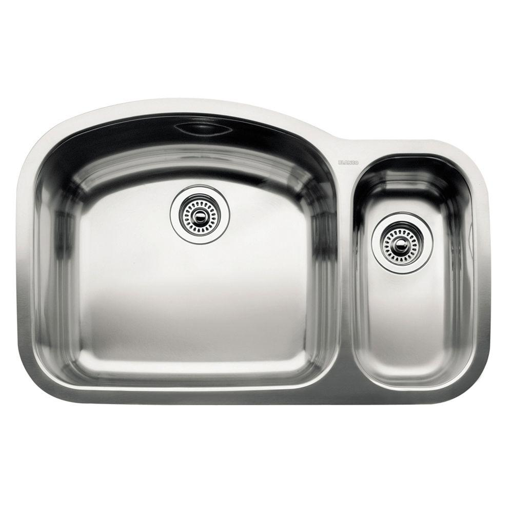 Blanco Wave Undermount Stainless Steel 32x21x9 0 Hole 1-1/2 Double Basin Kitchen Sink-DISCONTINUED
