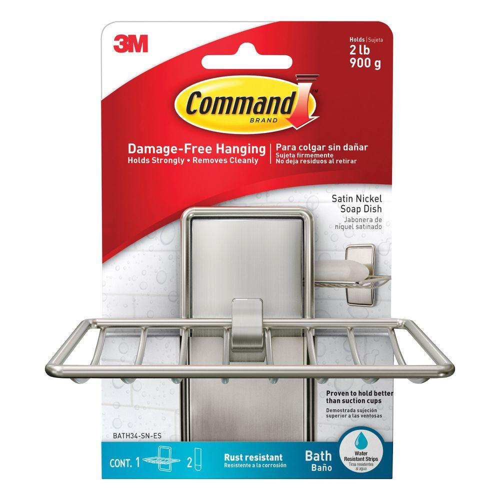 Command Satin Nickel Soap Dish 1 Soap Dish 2 Water