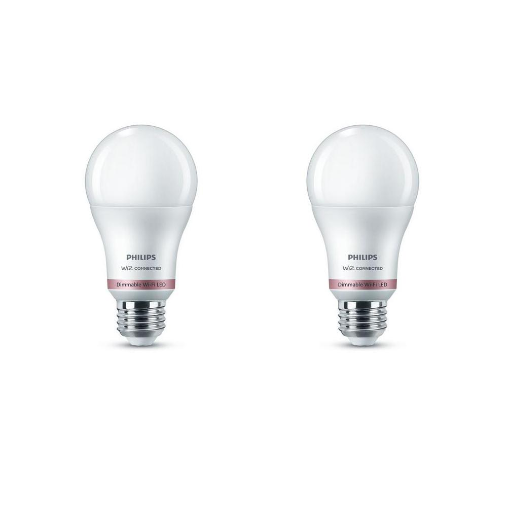Philips Daylight A19 LED 60W Equivalent Dimmable Smart Wi-Fi Wiz Connected  Wireless Light Bulb (2 Pack)