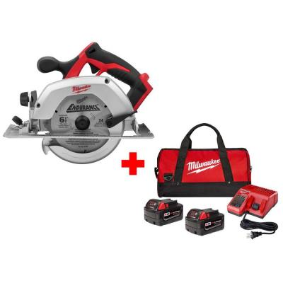 M18 18-Volt Lithium-Ion Cordless 6-1/2 in. Circular Saw with Two 4.0 Ah Batteries, Charger and Contractor Bag