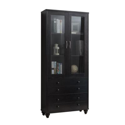 Wooden Red Cocoa Brown Book Cabinet with Two Drawers and Two Glass Paneled Door Storage