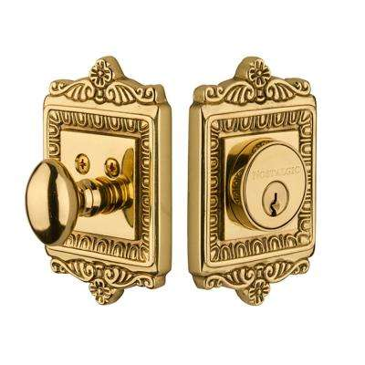 Egg and Dart Plate 2-3/4 in. Unlacquered Brass Backset Single Cylinder Deadbolt