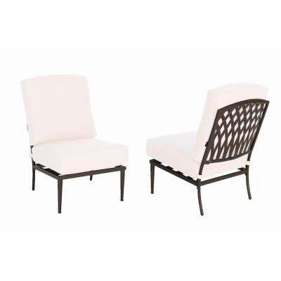 Oak Cliff Stationary Metal Outdoor Armless Lounge Chair with Cushions Included, Choose Your Own Color
