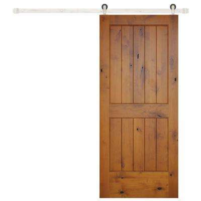 36 in. x 84 in. Rustic 2-Panel V-Groove Prefinished Knotty Alder Wood Interior Barn Door with Stainless Hardware
