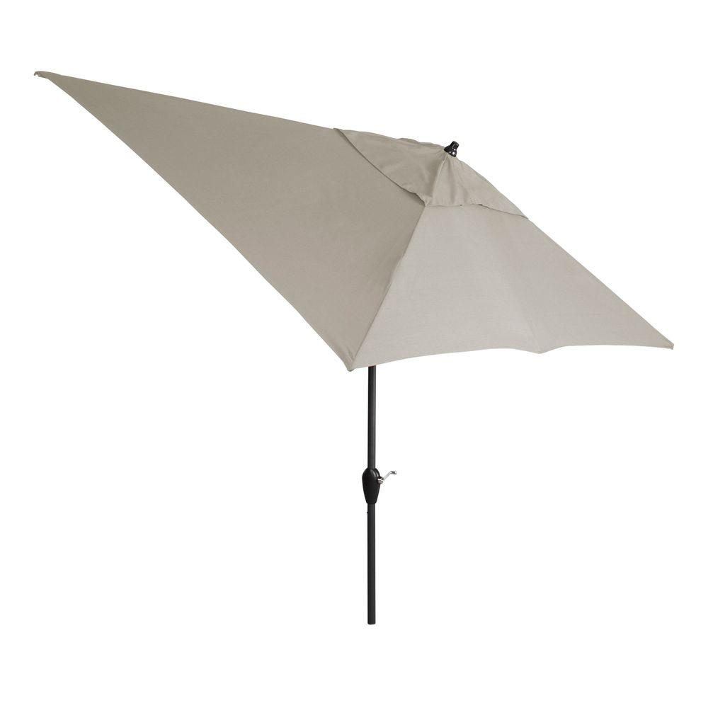 Hampton Bay 10 ft. x 6 ft. Aluminum Patio Umbrella in Gray with Push-Button Tilt