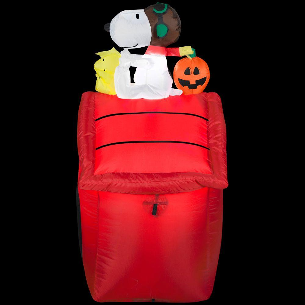 Home Accents Holiday 3.5 ft. Airblown Peanuts Red Baron Lighted Snoopy