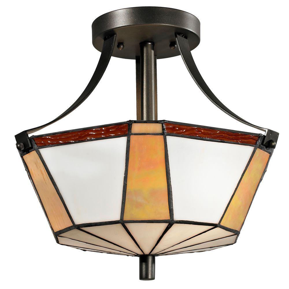 Visalia 2-Light Dark Bronze Semi-Flush Mount Light