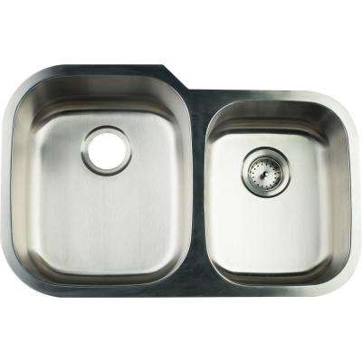 Undermount Stainless Steel 32 in. 0-Hole Double Bowl Kitchen Sink