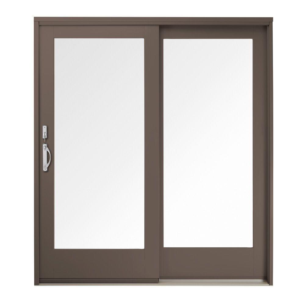 59 in. x 80 in. 400 Series Frenchwood Terratone Right-Hand Sliding Patio Door, Maple Interior, Low-E SmartSun Glass
