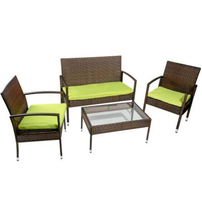 4-Piece Wicker Sofa Seating Group with Cushions, Outdoor rattan set
