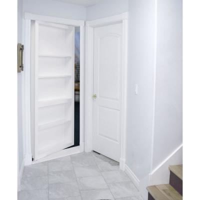 36 in. x 80 in. Flush Mount Assembled Paint Grade White Left Hand Out-Swing Solid Core Interior Bookcase Door