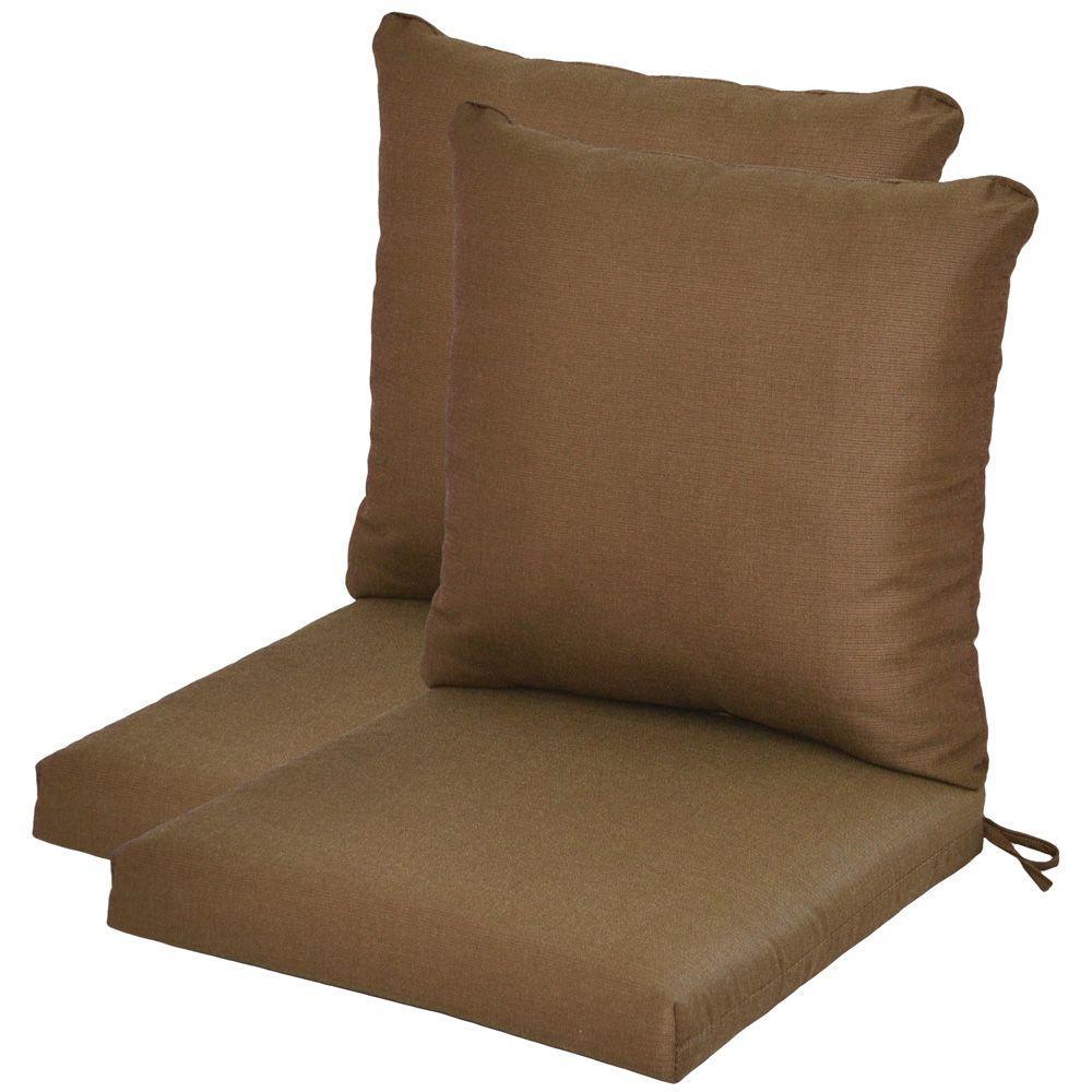 Hampton Bay Wheaton Textured Pillow Back Outdoor Deep Seating Cushion-DISCONTINUED