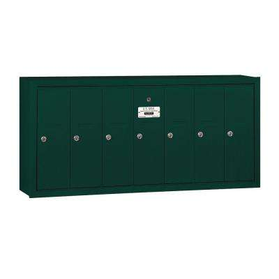 3500 Series Green Surface-Mounted Private Vertical Mailbox with 7 Door