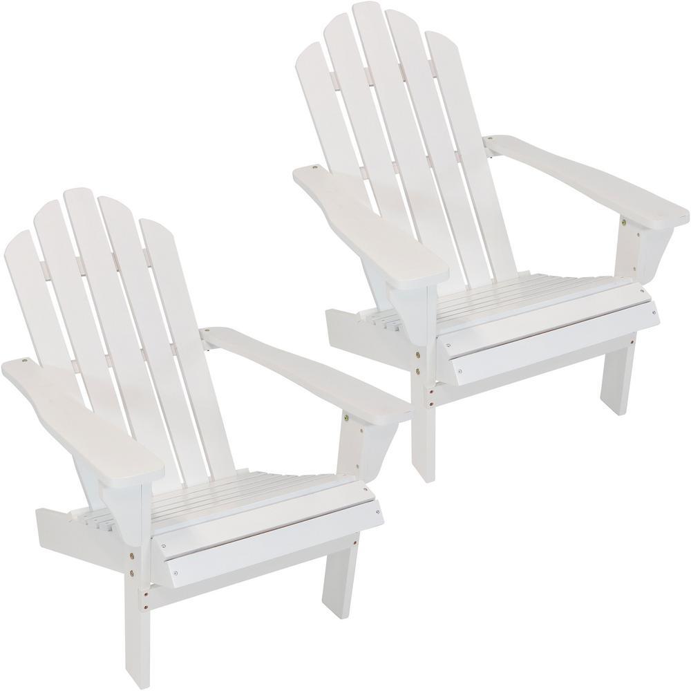 Sunnydaze Decor White Patio Wooden Adirondack Chairs (Set of 2)