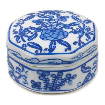 Oriental Furniture 3 in. Floral Blue and White Small Porcelain Jewelry Box