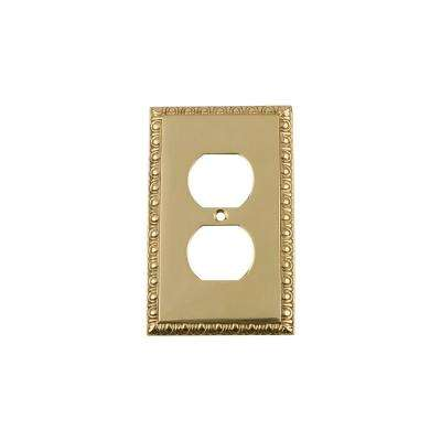 Egg and Dart Switch Plate with Outlet in Polished Brass
