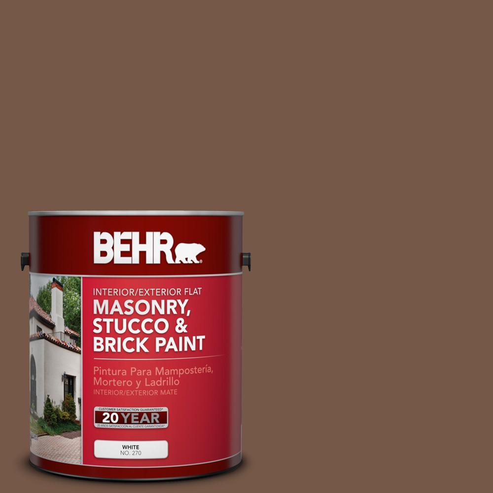 1 gal. #N250-7 Mission Brown Flat Interior/Exterior Masonry, Stucco and Brick Paint