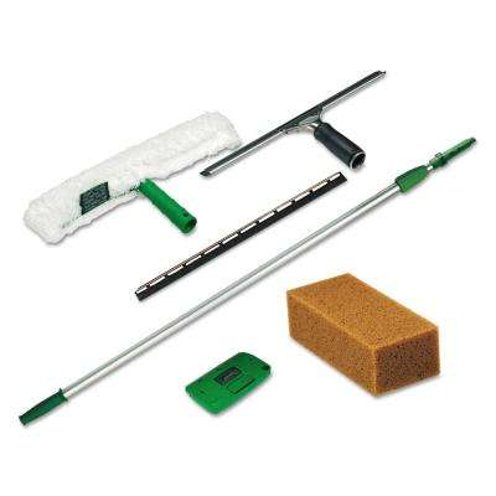Pro Window Cleaning Kit: 8 ft. Pole, Strip Washer, Squeegee, Scraper, Sponge (5-Piece)