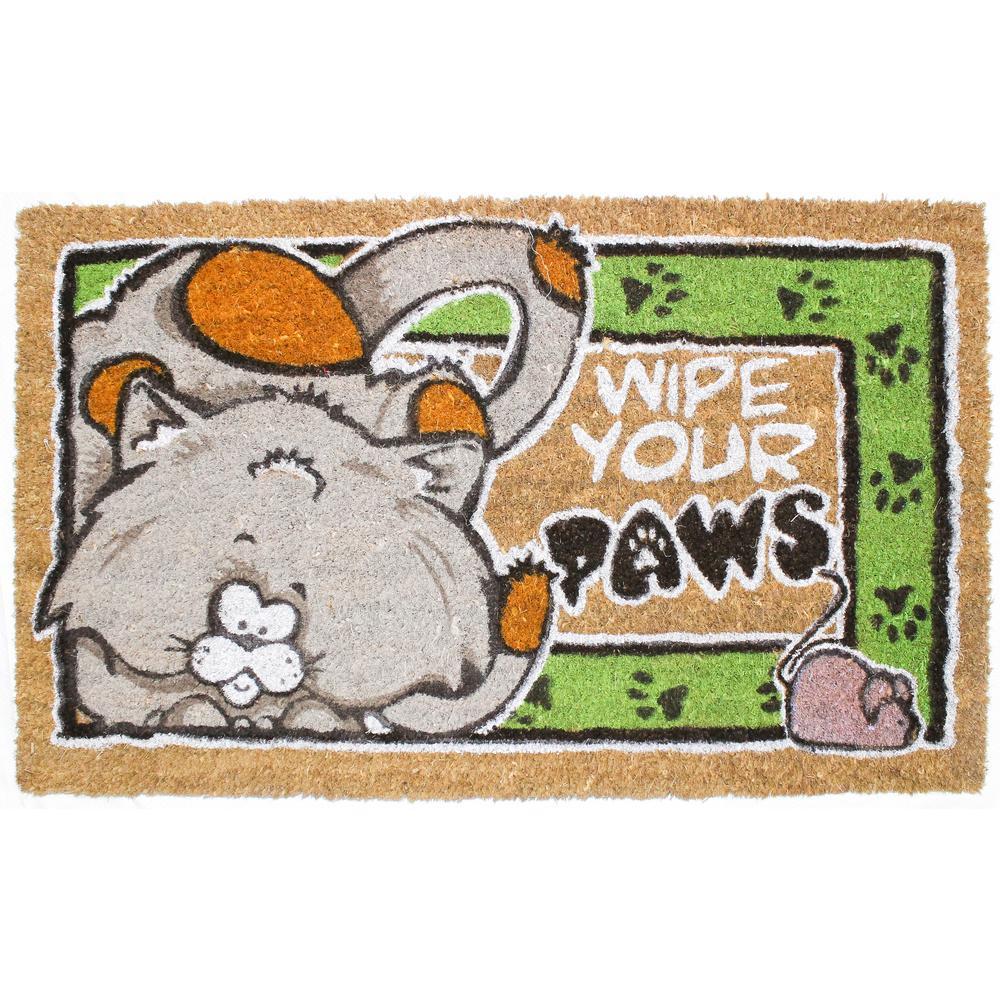 18 in. x 30 in. Wipe Your Paws Cat Vinyl Back Coco Door Mat