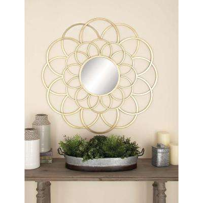 37 in. Modern Gold-Finished Lattice Metal Wall Mirror