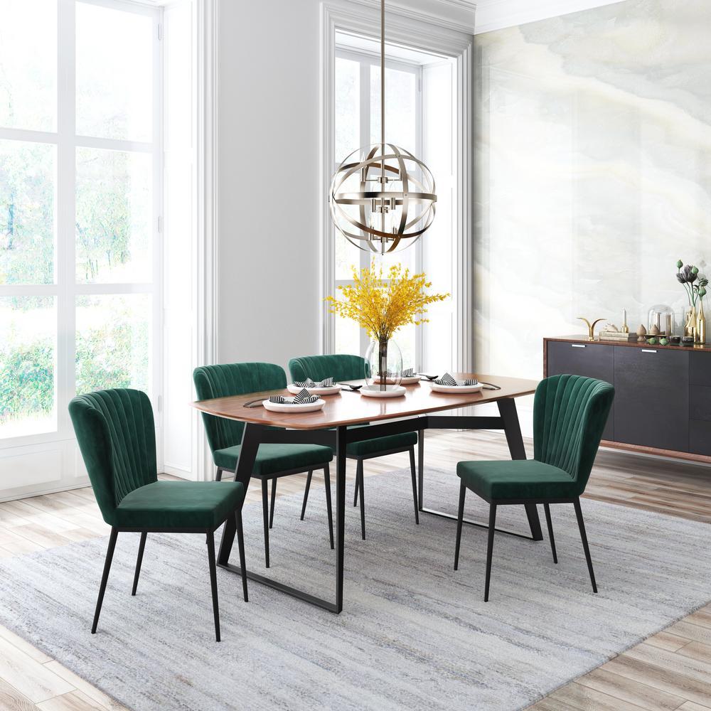 Zuo Tolivere Green Velvet Dining Chair Set Of 2 101100