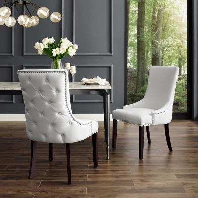 Piper White/Chrome PU Leather Nailhead Armless Dining Chair (Set of 2)