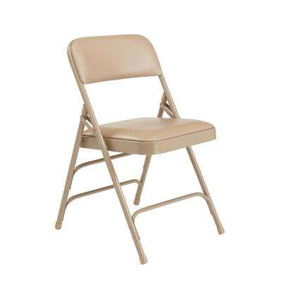 1300 Series French Beige Premium Vinyl Upholstered Triple Brace Double Hinge Folding Chair (4-Pack)