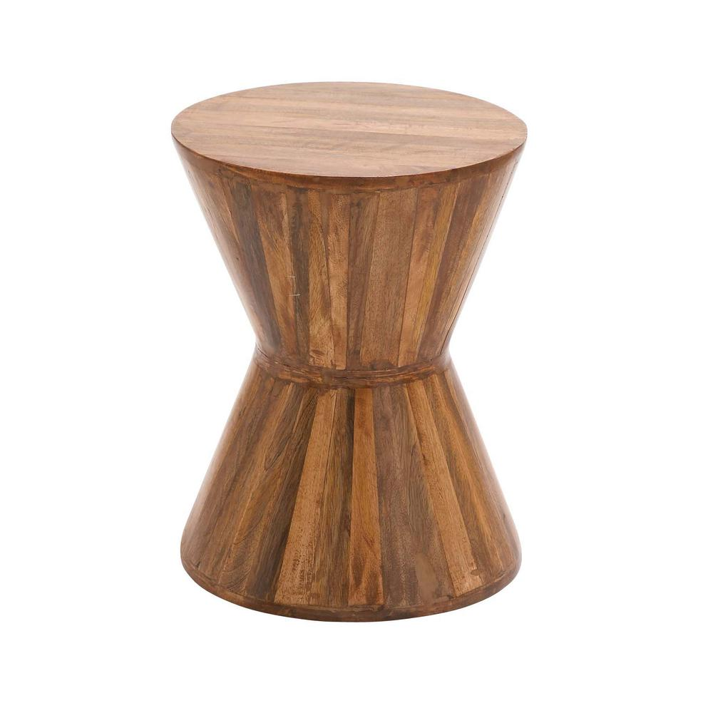 Litton Lane Natural Brown Hourglass-Shaped Side Table