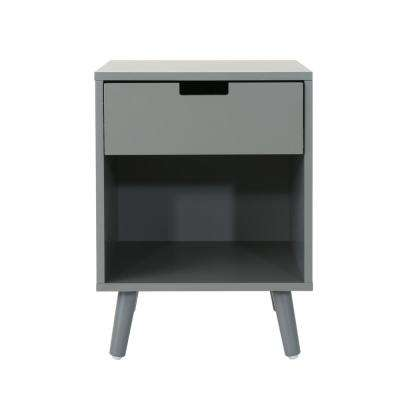 Ossian Modern Gray Wooden Accent Side Table with Drawer and Shelf