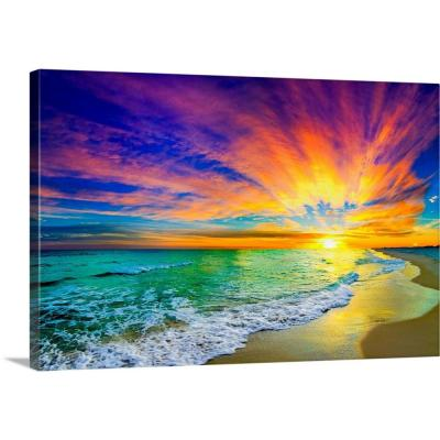 "36 in. x 24 in. ""Colorful Ocean Sunset Orange And Red Beach Sunset"" by  Eszra Tanner Canvas Wall Art"
