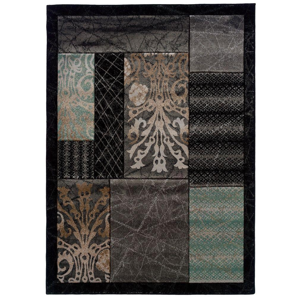 Linon Home Decor Milan Collection Black and Aqua 8 ft. x 10 ft. 3 in. Indoor Area Rug