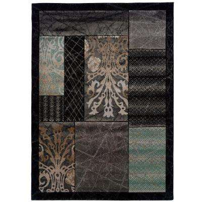 Milan Collection Black and Aqua 8 ft. x 10 ft. 3 in. Indoor Area Rug