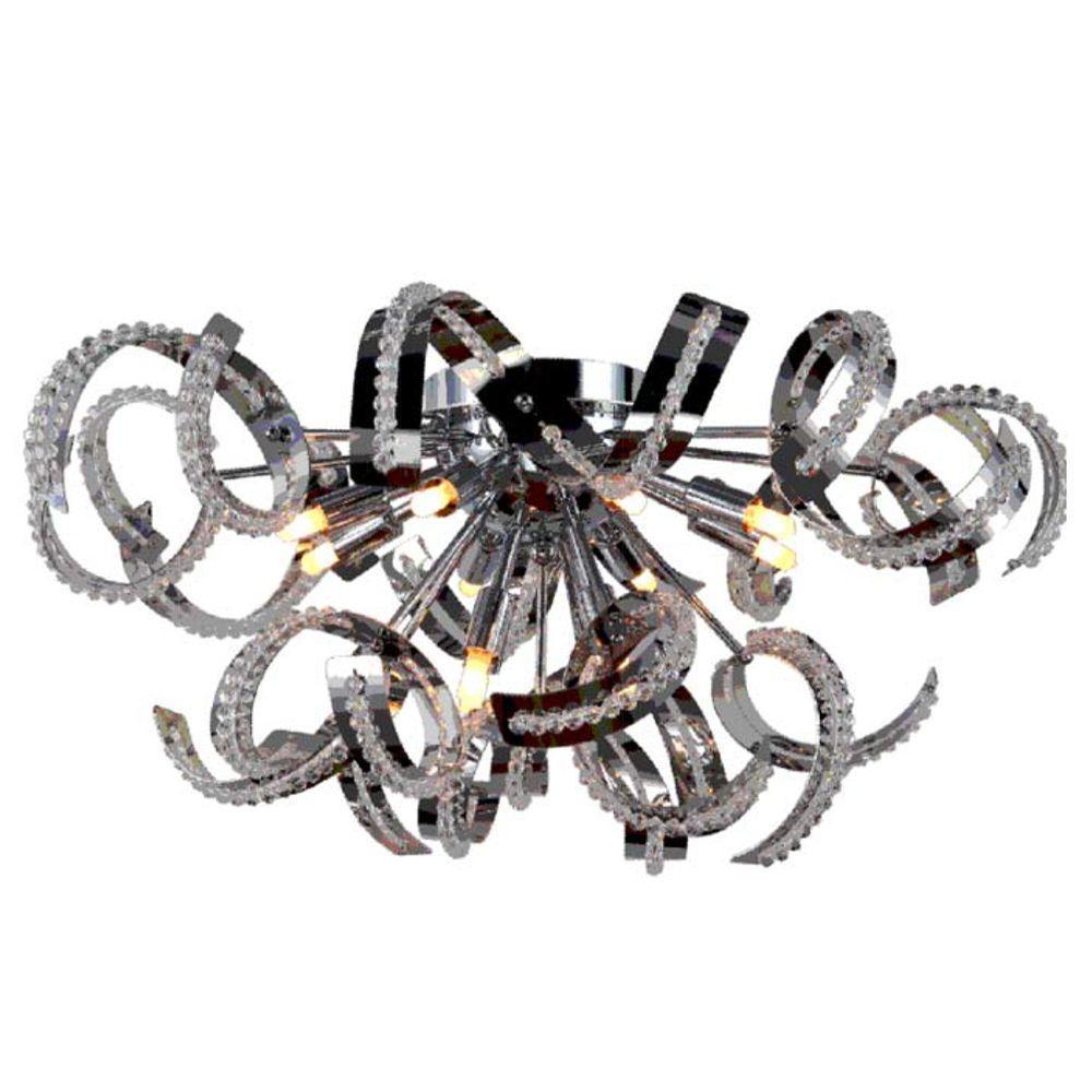 Worldwide Lighting Medusa Collection 12-Light Chrome and Crystal Ceiling Light