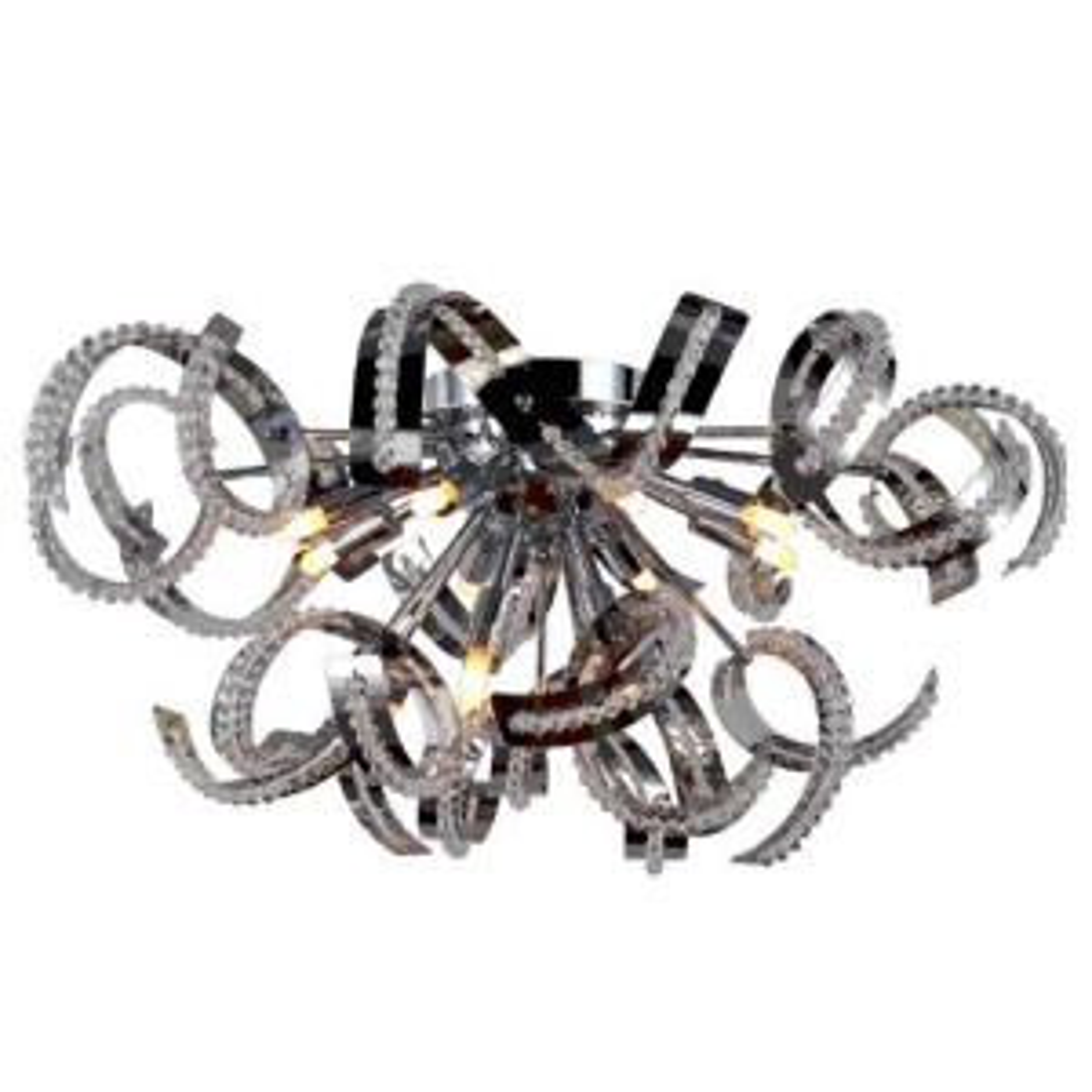 Worldwide Lighting Medusa Collection 12-Light Chrome and Crystal Ceiling Light by Worldwide Lighting