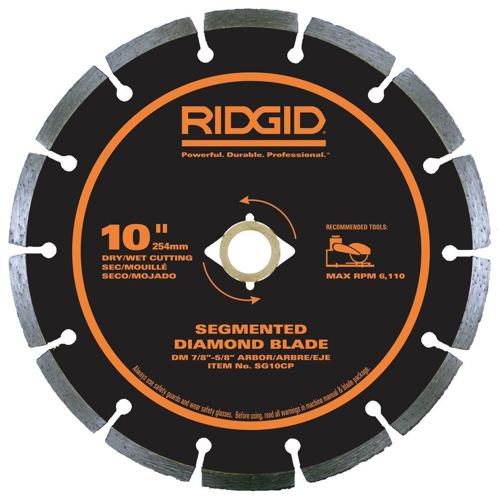 Ridgid 10 in segmented diamond blade hd sg10cp the home depot segmented diamond blade keyboard keysfo Image collections