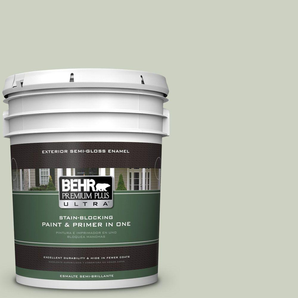 BEHR Premium Plus Ultra 5-gal. #PPU10-11 Sliced Cucumber Semi-Gloss Enamel Exterior Paint
