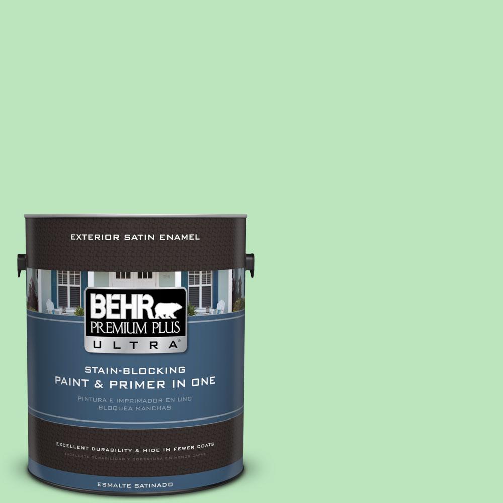 BEHR Premium Plus Ultra 1-gal. #P390-3 Mint Parfait Satin Enamel Exterior Paint