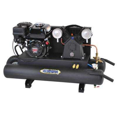 10 Gal. 6.5 HP 4-Cycle Portable Gas Wheelbarrow Air Compressor with Honda Gas Powered Recoil Start Engine, 11.5 SCFM
