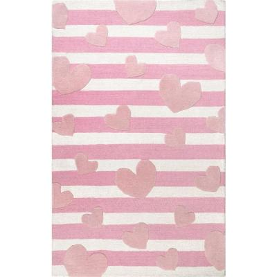 Nursery Pink Wool Kids Rugs
