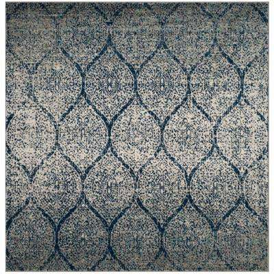 Madison Navy/Silver 5 ft. x 5 ft. Square Area Rug