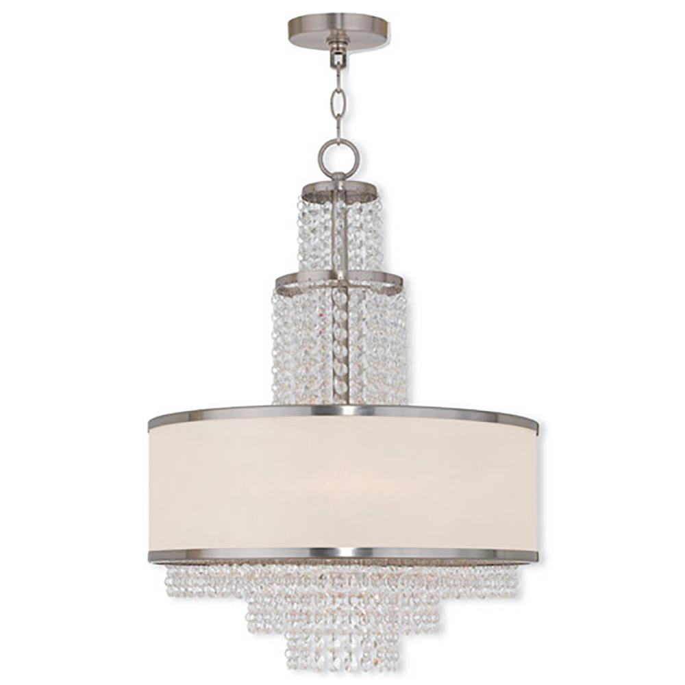 Livex Lighting Prescott 5-Light brushed nickel Chandelier with Off-White Sheer Organza Shade