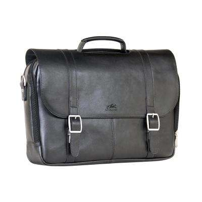 Double Compartment Black Business Briefcase for 15.6 in. Laptop and Tablet